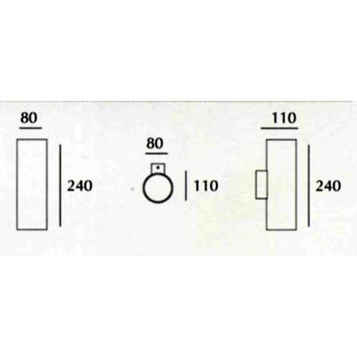 Tubo - Applique Gesso Tinteggiabile Cilindrica Biemissione