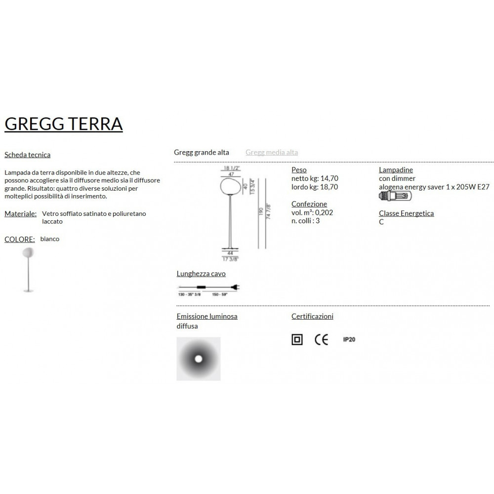 Foscarini Gregg Terra Grande Alta Bianco