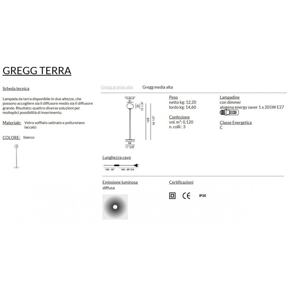 Foscarini Gregg Terra Media Alta Bianco