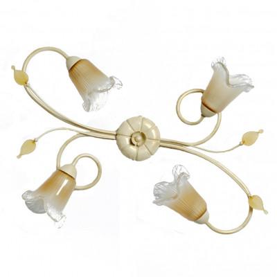 Plafoniera classica 4 luci stile ferro battuto Avorio-Oro lampadario MADE in ITALY
