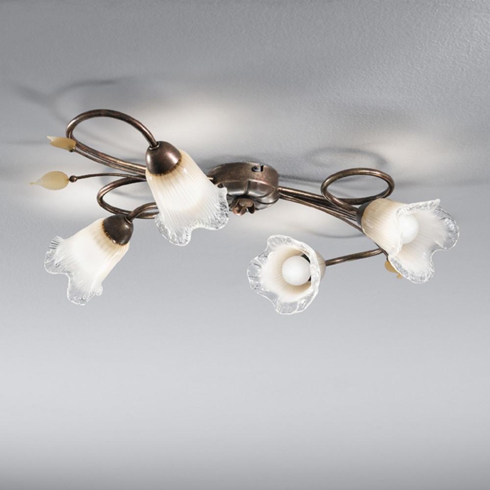Plafoniera classica 4 luci stile ferro battuto Avorio-Oro lampadario MADE in ITALY - Soffitto ...