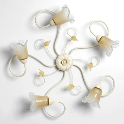 Plafoniera classica 5 luci stile ferro battuto Avorio-Oro lampadario MADE in ITALY