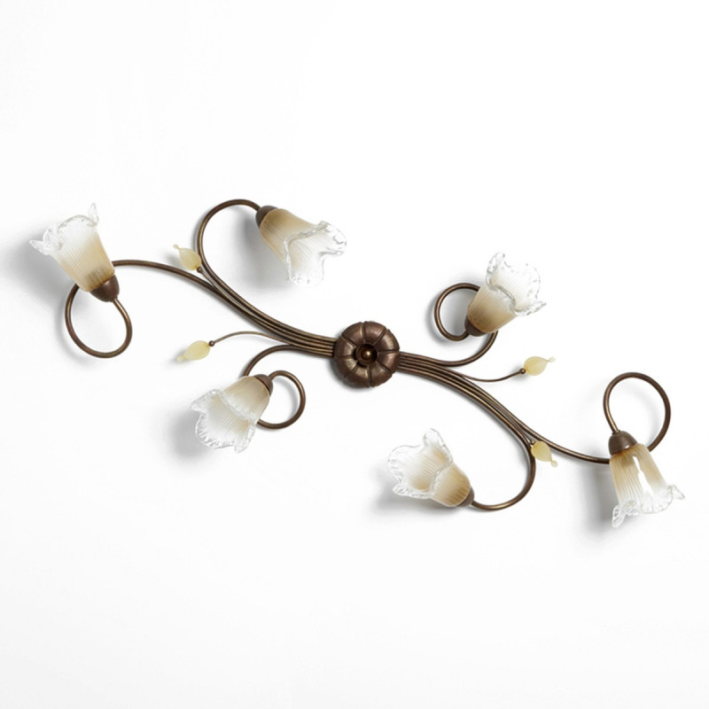 Plafoniera classica 6 luci stile ferro battuto Ottone-Rame lampadario  MADE in ITALY