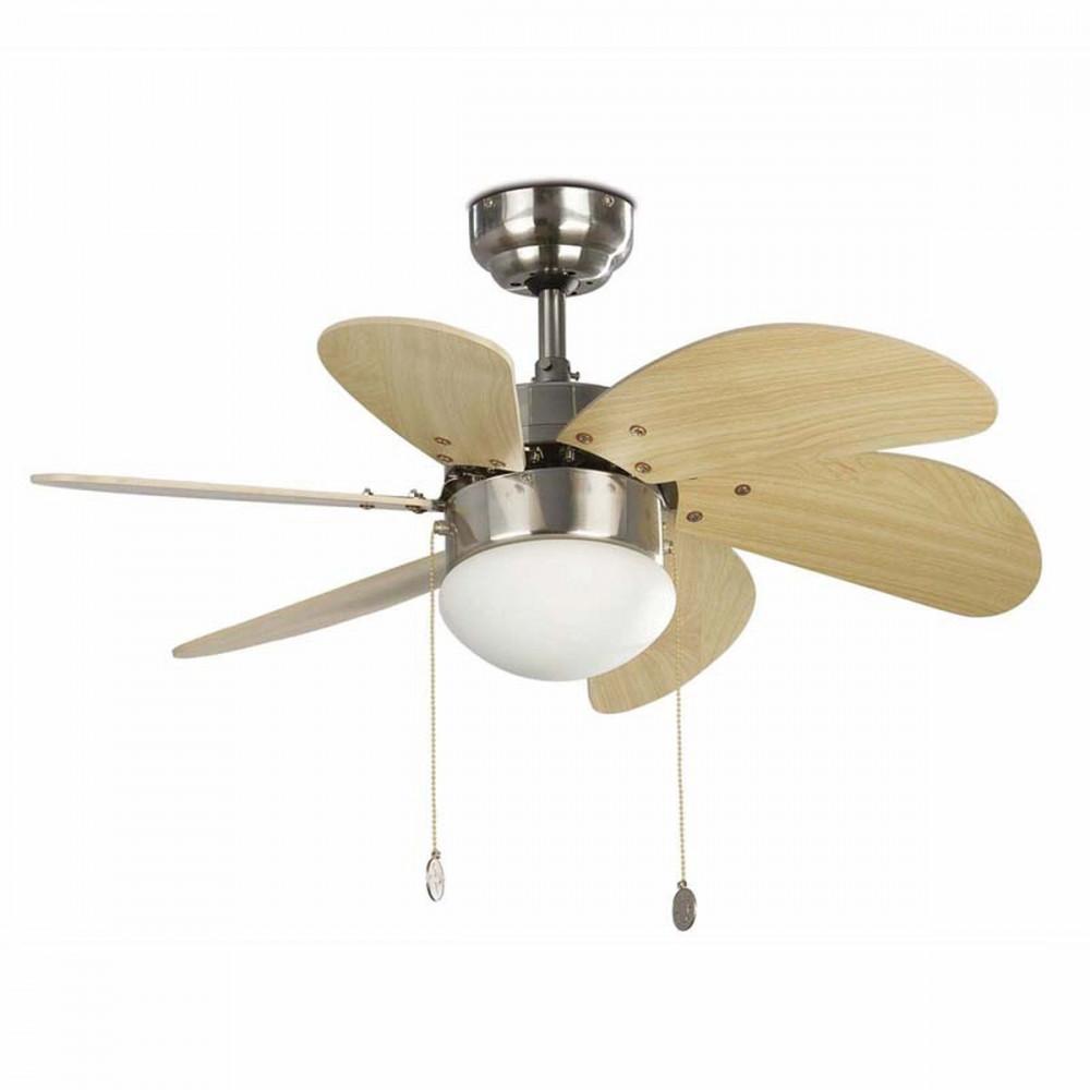 Ventilatore da Soffitto 76 cm con Luce Colore Nichel pale Pino - eluce-store.it