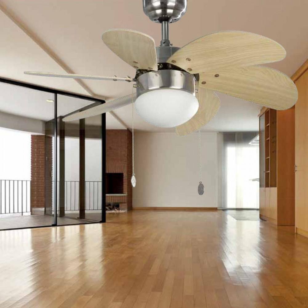 Ventilatore da soffitto 81 cm con luce colore nichel pale pino ventilatori faro - Pale da soffitto design ...