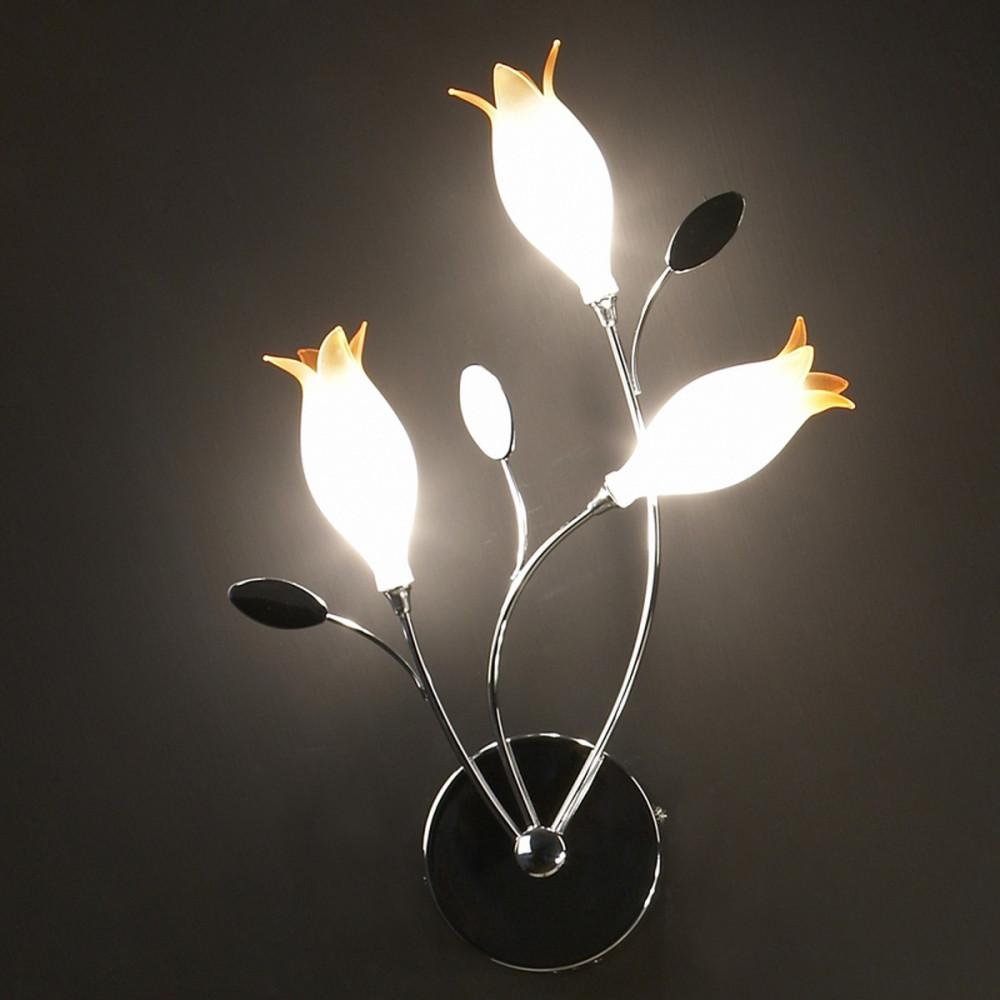 Flower applique lampada parete 3 luci metallo cromo for Lampade in offerta