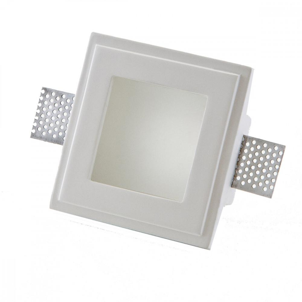 Faretti in gesso quadrato con vetro per lampadine led o for Faretti incasso cartongesso