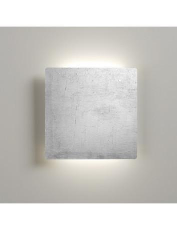 Biluce MATTONELLA Applique LED 15W Quadrata Biemissione Extra Piatta Foglia Argento