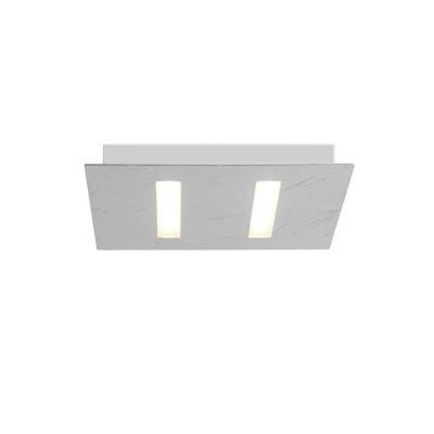 Biluce TRATTO 21 cm Plafoniera LED Quadrata extra piatta Argento