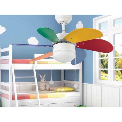 Ventilatore da Soffitto 81 cm con Luce Multicolor divertente per camerette