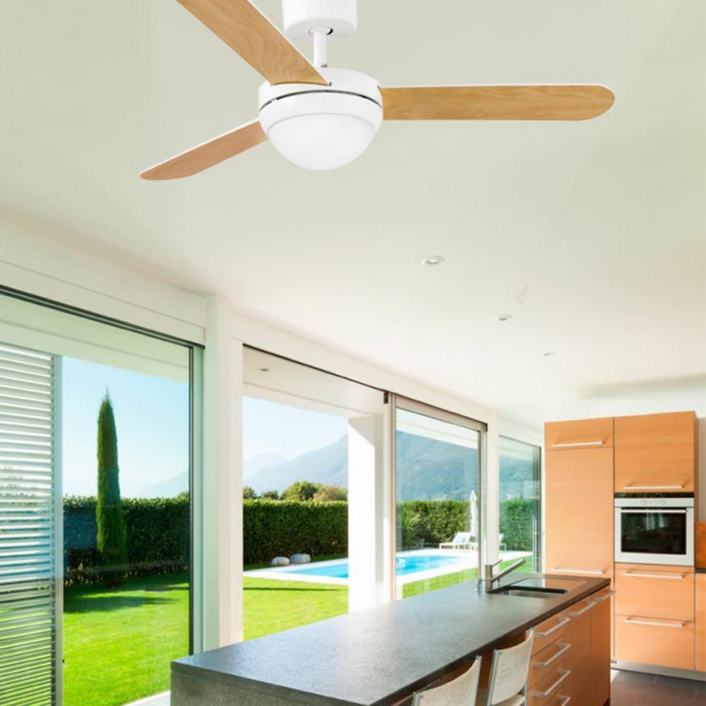 Ventilatore da soffitto con luce e telecomando bianco o for Ventilatore con telecomando