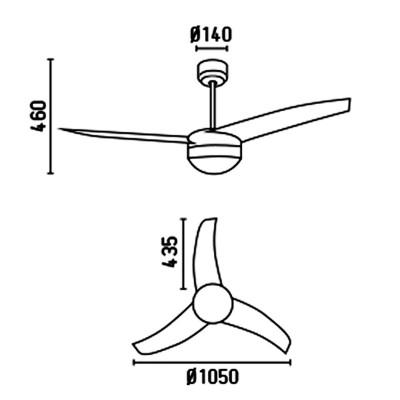 Ventilatore da Soffitto 105 cm Grigio