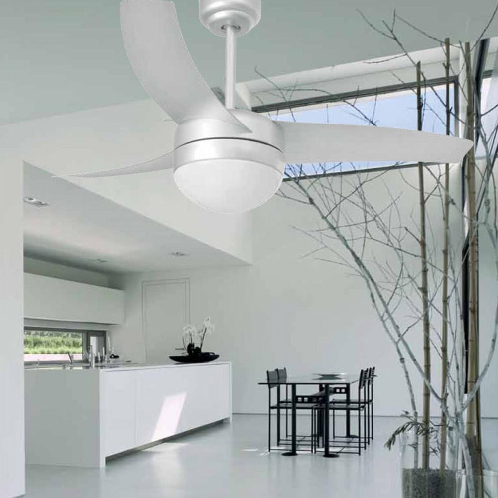 Ventilatore soffitto con luce e telecomando grigio - Ventilatore da soffitto design ...