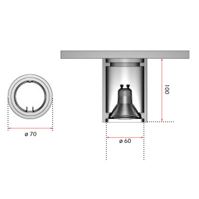 Cilindro In Gesso Da Soffitto H. 10 cm D. 7 cm GU10 LED o Alogena
