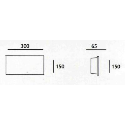 Rettangolo LED - Applique Gesso Tinteggiabile Biemissione 30 Cm