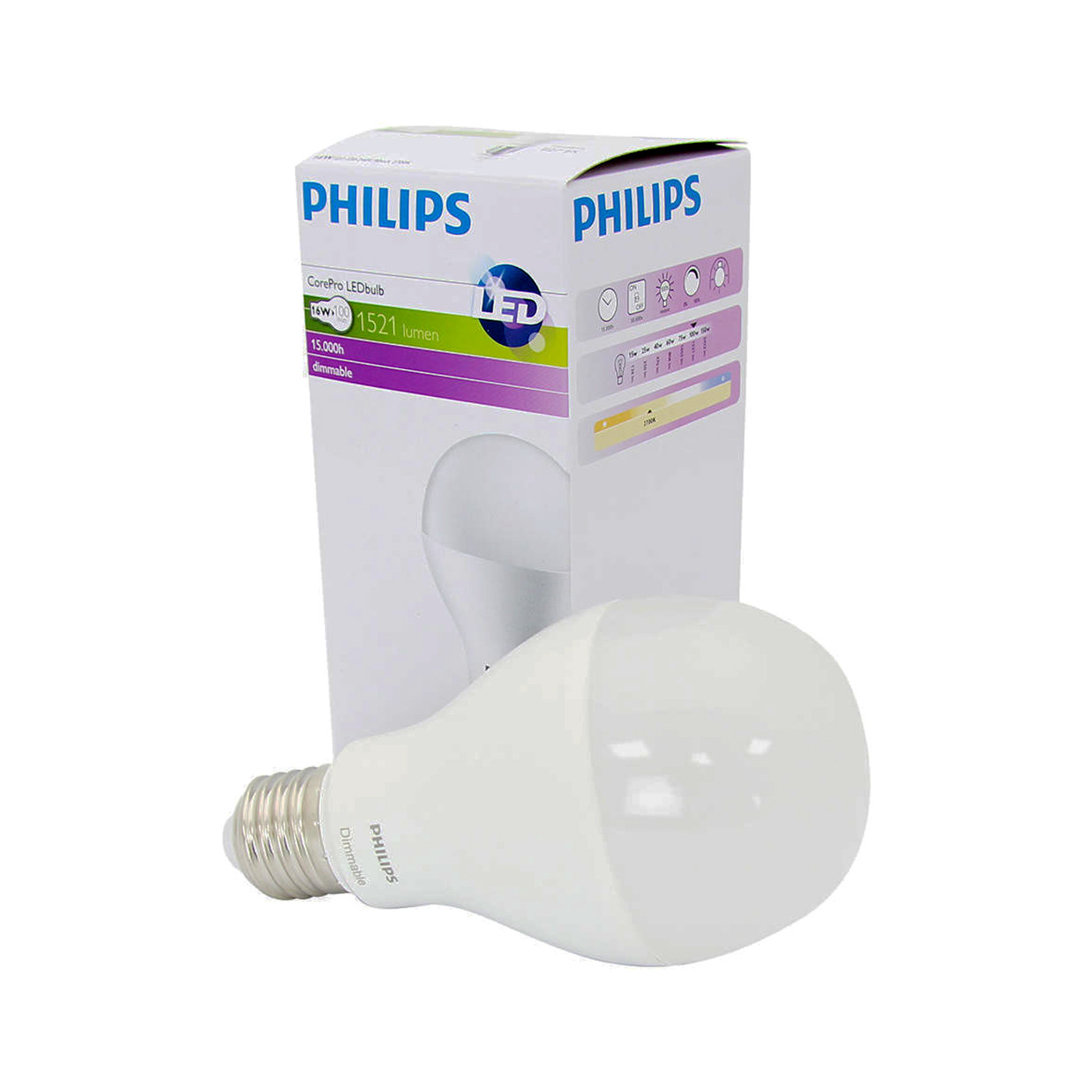Lampadina led e27 13 5w dimmerabile corepro philips per for Offerte lampadine a led e 27