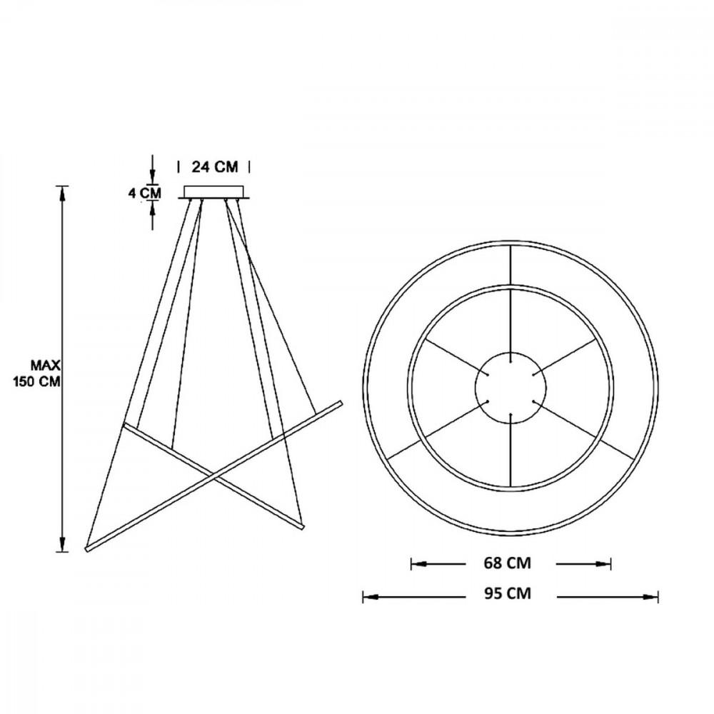 Biluce Opposit Lampadario LED con anelli Bianco, Nero