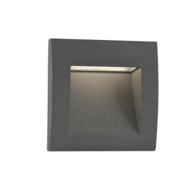 Faretto segnapassi ad incasso Quadrato per esterni LED in alluminio Grigio Scuro