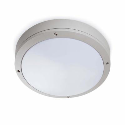 Plafoniera applique circolare per esterni alluminio 27 cm IP54 Grigio Argento